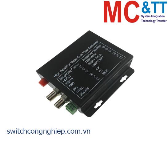 Bộ chuyển đổi 2 kênh video TVI / CVI / AHD + RS485 data sang quang 3Onedata SWV61201