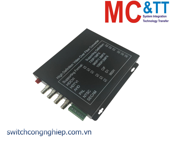 Bộ chuyển đổi 4 kênh video TVI / CVI / AHD + RS485 data sang quang 3Onedata SWV61401