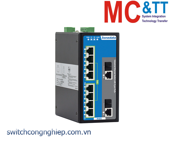 IPS3110-2GC-8POE: Switch công nghiệp 8 cổng PoE Ethernet + 2 cổng combo Gigabit 3Onedata