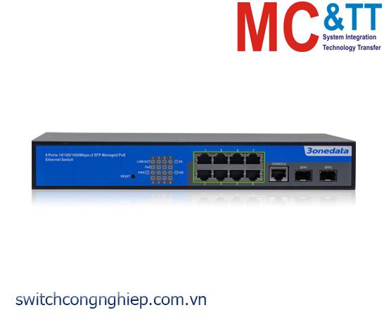 PS5010G-2GS-8POE: Switch quản lý 8 cổng Gigabit PoE Ethernet + 2 cổng Gigabit SFP 3Onedata