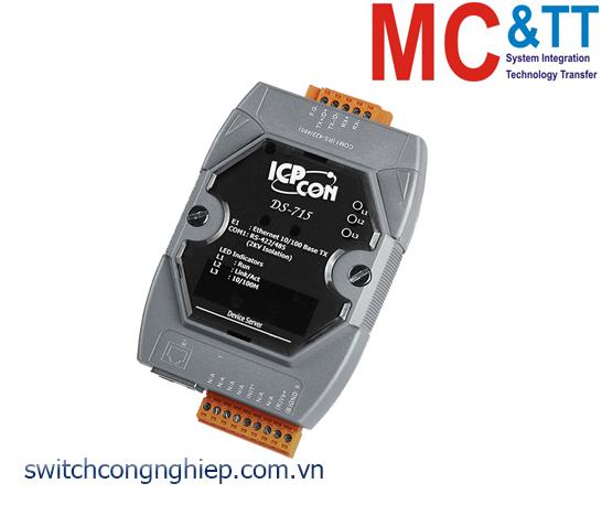 DS-715 CR: Bộ chuyển đổi tín hiệu 1 cổng cách ly RS-422/485 sang Ethernet ICP DAS