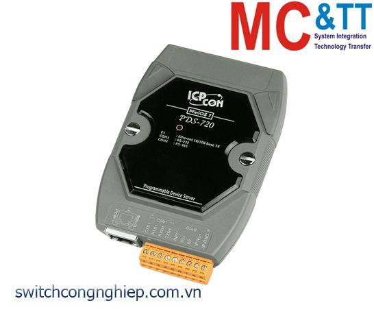 PDS-720 CR: Bộ chuyển đổi tín hiệu 1 cổng RS-232 +1 cổng RS-485 sang Ethernet ICP DAS