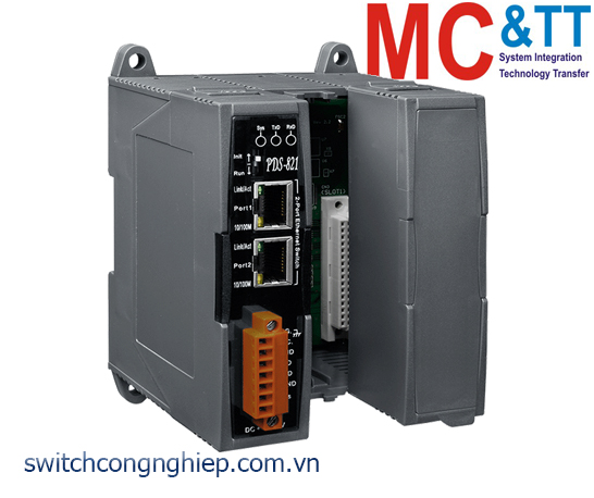 PDS-821 CR: Bộ chuyển đổi tín hiệu 1 cổng RS-232 sang 2 cổng Ethernet + 2 khe cắm mở rộng ICP DAS