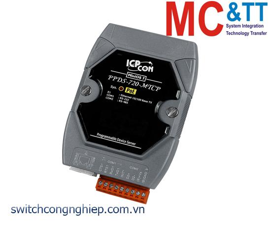 PPDS-720-MTCP CR: Bộ chuyển đổi tín hiệu 1 cổng RS-232 +1 cổng RS-485 sang Ethernet với PoE ICP DAS