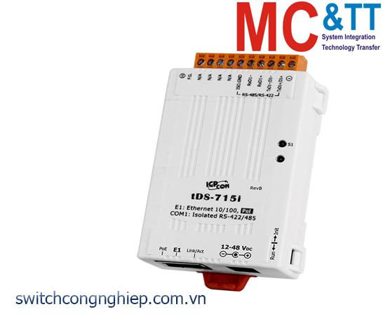 tDS-715i CR : Bộ chuyển đổi tín hiệu 1 cổng RS-422/485 sang Ethernet với PoE ICP DAS