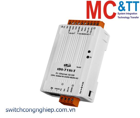 tDS-718i-T CR: Bộ chuyển đổi tín hiệu 1 cổng cách ly RS-232/422/485 sang Ethernet ICP DAS