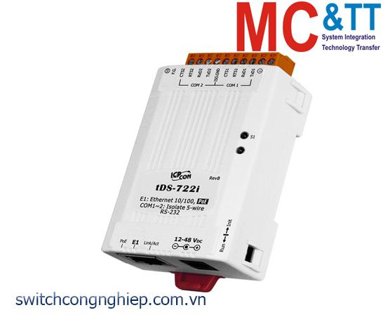 tDS-722i CR: Bộ chuyển đổi tín hiệu 2 cổng RS-232 sang Ethernet với PoE ICP DAS