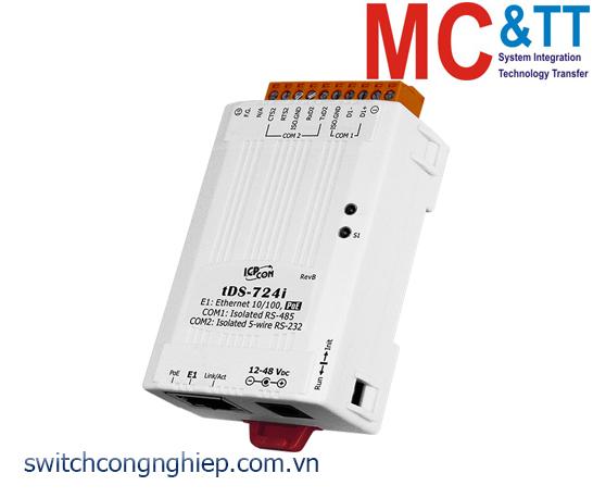 tDS-724i CR: Bộ chuyển đổi tín hiệu 1 cổng RS-232+1 cổng RS-485 sang Ethernet với PoE ICP DAS