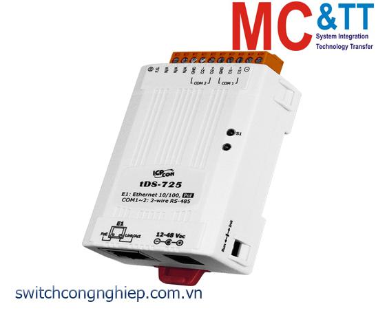tDS-725 CR: Bộ chuyển đổi tín hiệu 2 cổng RS-485 sang Ethernet với PoE ICP DAS