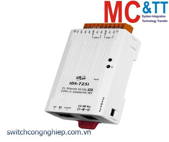 tDS-725i CR: Bộ chuyển đổi tín hiệu 2 cổng RS-485 sang Ethernet với PoE ICP DAS