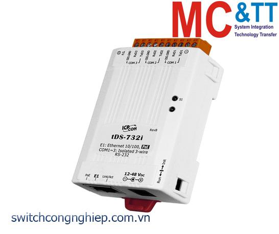 tDS-732i CR: Bộ chuyển đổi tín hiệu 3 cổng RS-232 sang Ethernet với PoE ICP DAS