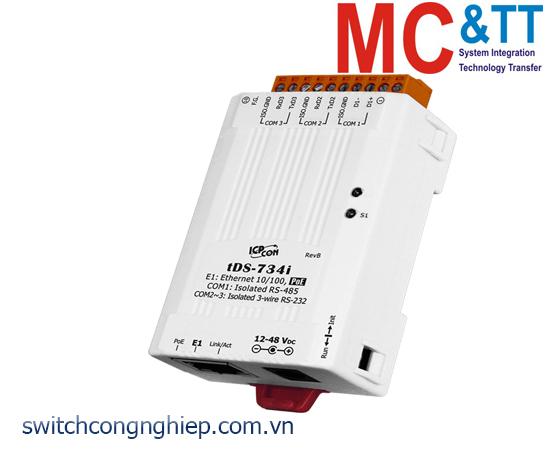 tDS-734i CR: Bộ chuyển đổi tín hiệu 2 cổng cách ly RS-232 +1 cổng cách ly RS-485 sang Ethernet với PoE ICP DAS