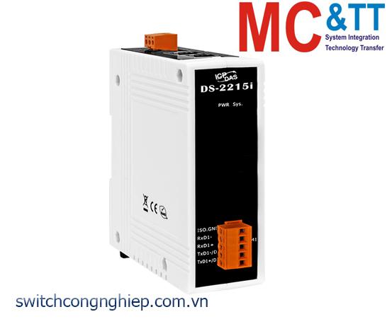 DS-2215i CR: Bộ chuyển đổi tín hiệu 1 cổng RS-422/485 cách ly+2 cổng Ethernet switch ICP DAS