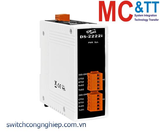 DS-2222i CR: Bộ chuyển đổi tín hiệu 2 cổng RS-232 cách ly+2 cổng Ethernet switch ICP DAS