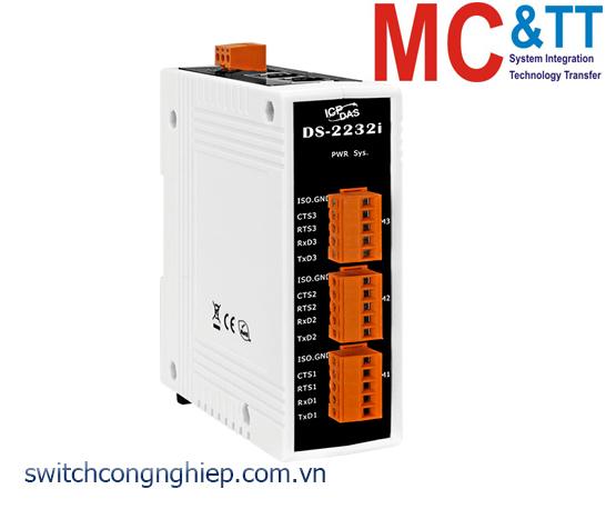 DS-2232i CR: Bộ chuyển đổi tín hiệu 3 cổng RS-232 cách ly+2 cổng Ethernet switch ICP DAS