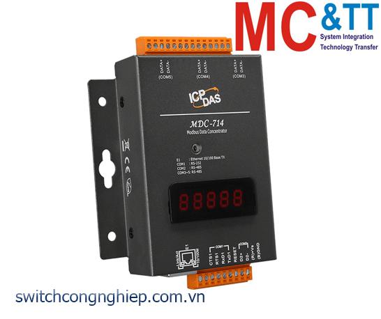 MDC-714 CR: Bộ tập trung dữ liệu với 1 cổng RS-232 +4 cổng RS-485 +1 cổng Ethernet ICP DAS