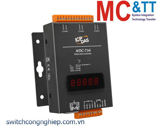 MDC-714i CR: Bộ tập trung dữ liệu với 1 cổng RS-232 +4 cổng RS-485 (cách ly và không cách ly) +1 cổng Ethernet ICP DAS