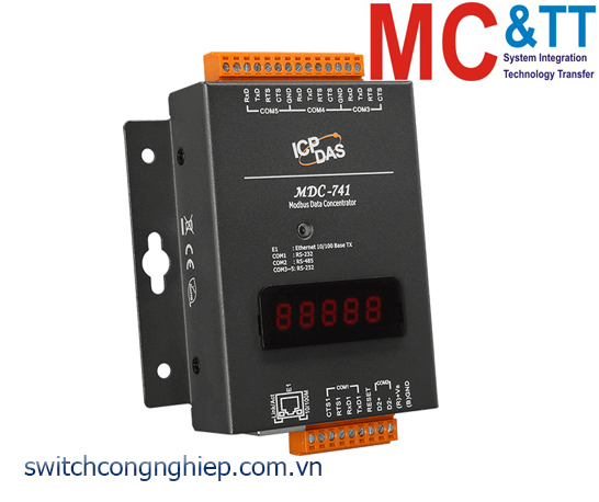 MDC-741 CR: Bộ tập trung dữ liệu với 4 cổng RS-232 +1 cổng RS-485+1 cổng Ethernet ICP DAS