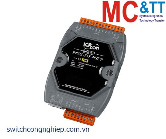 PPDS-755-MTCP CR: Bộ chuyển đổi tín hiệu 1 cổng RS-232 +4 cổng RS-485 sang Ethernet với PoE ICP DAS