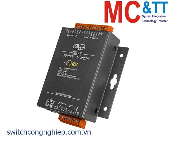PPDSM-734-MTCP CR: Bộ chuyển đổi tín hiệu 1 cổng RS-232 +1 cổng RS-485+1 cổng RS-422/485 sang Ethernet với PoE ICP DAS