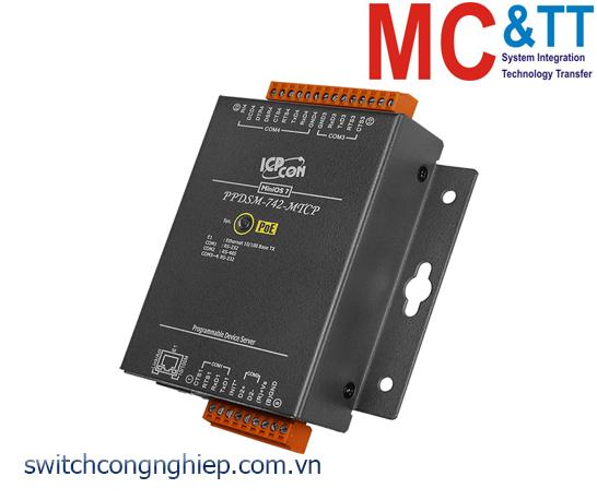PPDSM-742-MTCP CR: Bộ chuyển đổi tín hiệu 3 cổng RS-232 +1 cổng RS-485 sang Ethernet với PoE ICP DAS