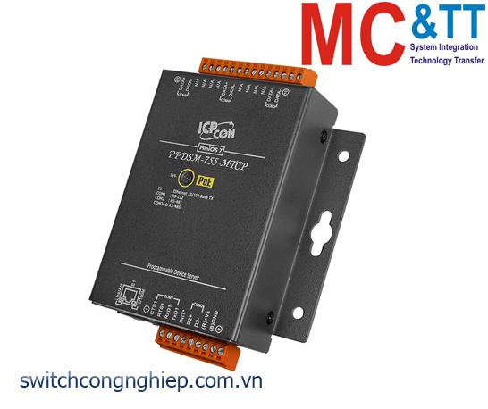 PPDSM-755-MTCP CR: Bộ chuyển đổi tín hiệu 1 cổng RS-232 +4 cổng RS-485 sang Ethernet với PoE ICP DAS