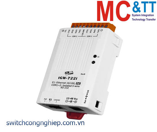 tGW-722i CR: Bộ Gateway Modbus/TCP sang RTU/ASCII với PoE, nguồn cách ly và 2 cổng RS-232 ICP DAS