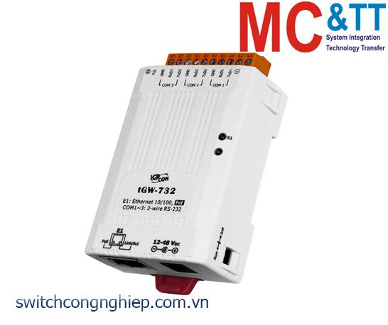tGW-732 CR: Bộ Gateway Modbus/TCP sang RTU/ASCII với PoE và 3 cổng RS-232 ICP DAS