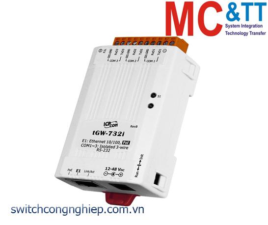 tGW-732i CR: Bộ Gateway Modbus/TCP sang RTU/ASCII với PoE, nguồn cách ly và 3 cổng RS-232 ICP DAS