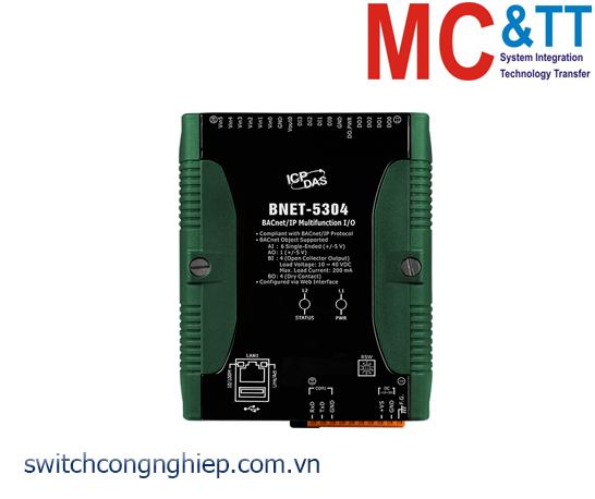 BNET-5304 CR:  Module BACnet/IP 6 kênh AI + 1 kênh AO+ 4 kênh DI + 4 kênh DO ICP DAS