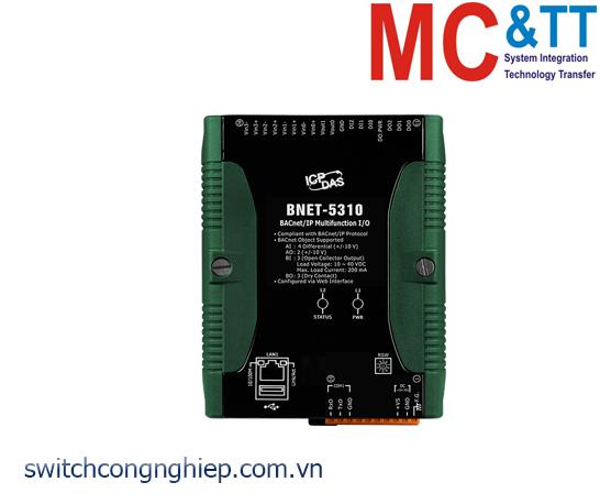 BNET-5310 CR:  Module BACnet/IP 4 kênh AI + 2 kênh AO+ 3 kênh DI + 3 kênh DO ICP DAS