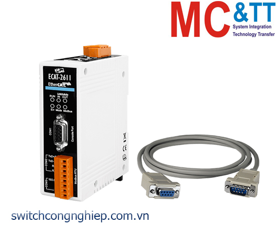 ECAT-2611 CR: Bộ chuyển đổi gateway EtherCAT Slave sang Modbus RTU Master ICP DAS
