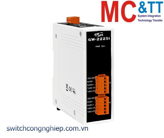 GW-2225i CR: Bộ Gateway Modbus/TCP sang RTU/ASCII với 2 cổng Ethernet switch và 2 cổng cách ly RS-422/485 ICP DAS