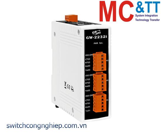 GW-2232i CR: Bộ Gateway Modbus/TCP sang RTU/ASCII với 2 cổng Ethernet switch và 3 cổng cách ly RS-232 ICP DAS