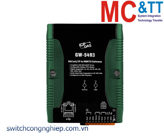 GW-5493 CR: Bộ chuyển đổi gateway BACnet/IP sang Modbus TCP ICP DAS