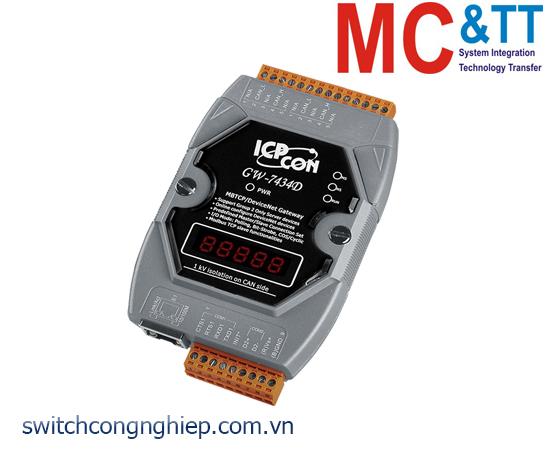 GW-7434D-G CR: Bộ chuyển đổi gateway Modbus TCP/RTU/ASCII Slave sang DeviceNet Master ICP DAS