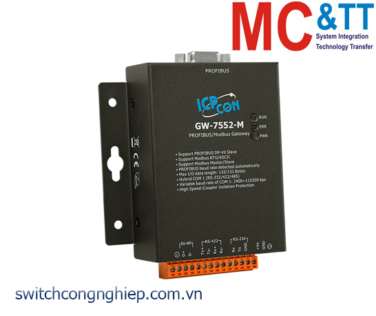 GW-7552-M CR: Bộ chuyển đổi gateway PROFIBUS sang Modbus RTU/ASCII ICP DAS