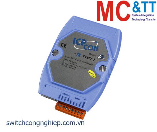I-7188E2-MTCP CR: Bộ lập trình Gateway Modbus với CPU 80188-40 và chương trình Modbus ICP DAS (màu xanh)