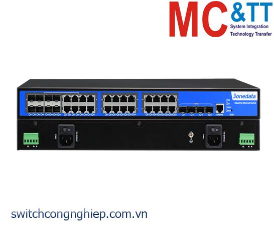 ICS5428-16GT4GS8GC-2P220: Switch công nghiệp quản lý Layer 3 16 cổng Gigabit Ethernet + 8 cổng Gigabit Combo + 4 cổng Gigabit SFP 3Onedata