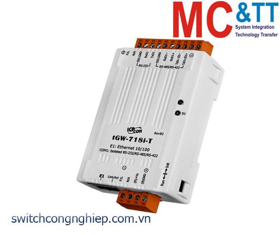tGW-718i-T CR: Bộ Gateway Modbus/TCP sang RTU/ASCII với 1 cổng cách ly RS-232/422/485 ICP DAS