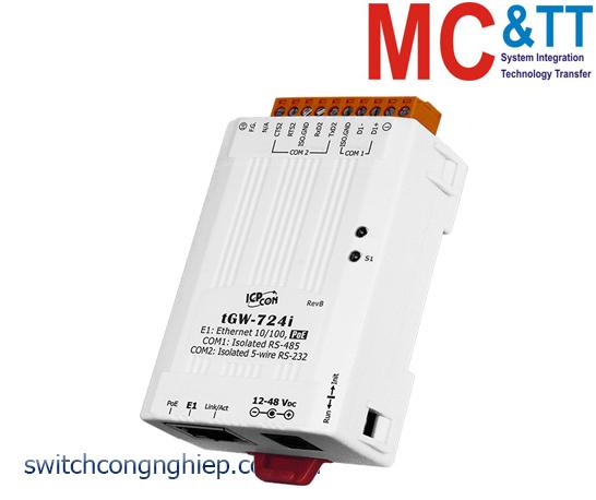 tGW-724i  CR: Bộ Gateway Modbus/TCP sang RTU/ASCII với PoE 1 cổng cách ly RS-232 +1 cách ly cổng RS-485 ICP DAS
