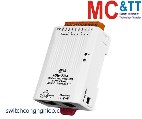 tGW-734 CR: Bộ Gateway Modbus/TCP sang RTU/ASCII với PoE  2 cổng RS-232 + 1 cổng RS-485 ICP DAS
