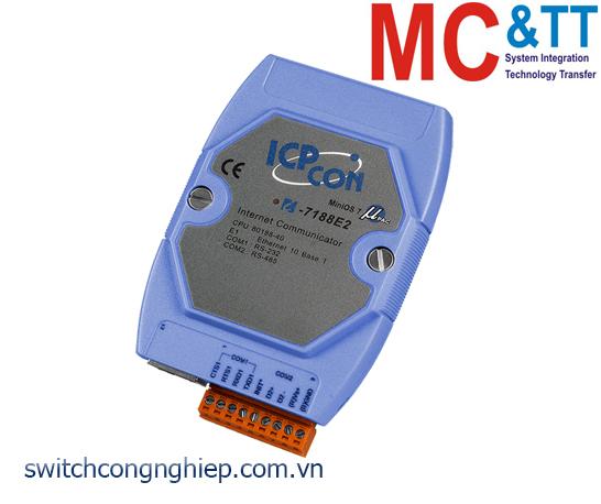 I-7188E2 CR: Bộ chuyển đổi lập trình Ethernet sang 1 cổng RS-232+ 1 cổng RS-485 ICP DAS