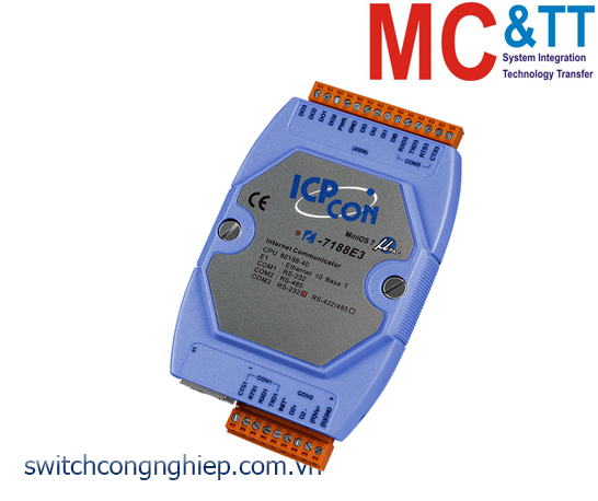 I-7188E3-232 CR: Bộ chuyển đổi lập trình Ethernet sang 2 cổng RS-232+1 cổng RS-485 ICP DAS