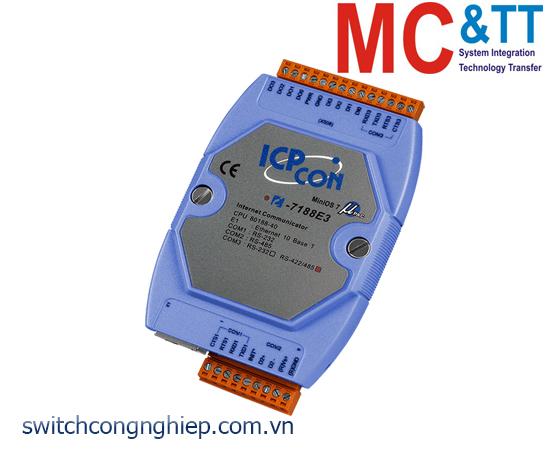 I-7188E3 CR: Bộ chuyển đổi lập trình Ethernet sang 1 cổng RS-232+1 cổng RS-485+1 cổng RS-422 ICP DAS