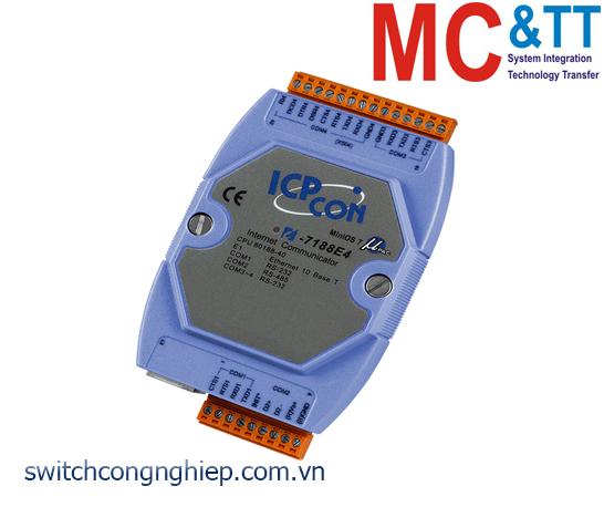 I-7188E4 CR: Bộ chuyển đổi lập trình Ethernet sang 3 cổng RS-232+1 cổng RS-485 ICP DAS