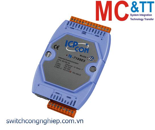 I-7188E5 CR: Bộ chuyển đổi lập trình Ethernet sang 4 cổng RS-232+ 1 cổng RS-485 ICP DAS