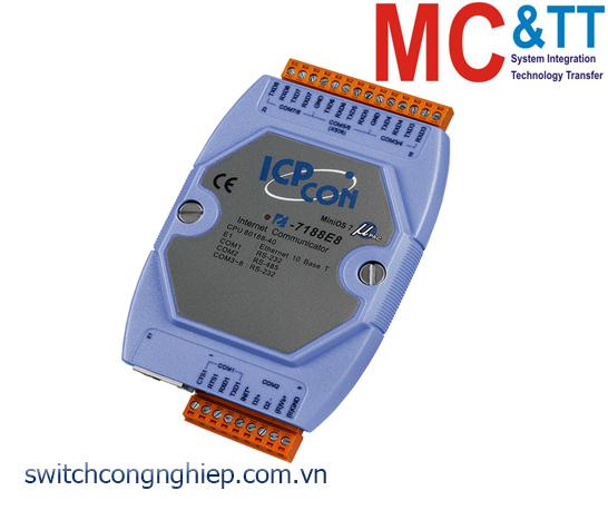 I-7188E8 CR: Bộ chuyển đổi lập trình Ethernet sang 7 cổng RS-232+ 1 cổng RS-485 ICP DAS