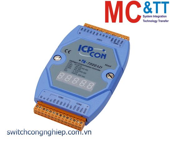I-7522AD CR: Bộ chuyển đổi tín hiệu RS-485 sang 2 cổng RS-232/RS-422/RS-485 với 5 DI+5 DO ICP DAS