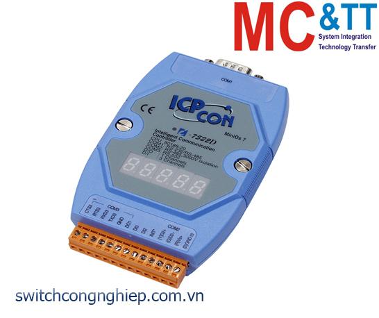 I-7522D CR: Bộ chuyển đổi tín hiệu RS-485 sang 2 cổng RS-232/RS-485 với 2 DI +1 DO ICP DAS